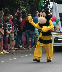 Mr Bumble cheered by the crowds