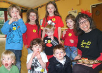 Jo with Kids on Red Nose Day 2011
